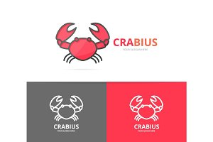Unique seafood and crab logo design template.