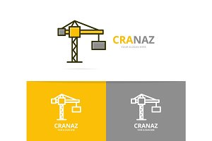 Vector of crane and construction logo design template.