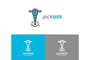 Vector of jackhammer and construction logo design template.