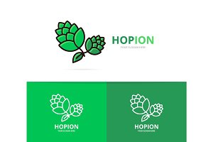 Vector of hop logo design template. Beer and bar symbol or icon