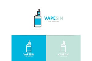 Vector of vape logo. Unique electronic cigarette and vaporizer logotype design template.