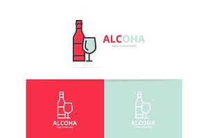 Vector of bottles of wine logo design template.