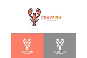 Vector lobster and cancer logo design template.