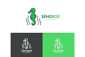 Vector seahorse and seafood logo design template.