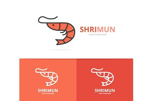 Vector of shrimp and seafood logo design template.