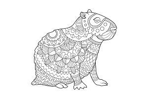 Capybara coloring book vector illustration