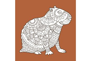 Capybara fashion vector illustration