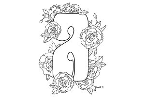 Letter A coloring book vector illustration