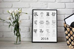 Calendar 2018 - hand drawn lettering