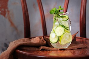 Infused water with cucumber, lime and mint