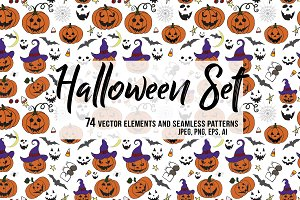 HALLOWEEN BUNDLE 74 vector elements.