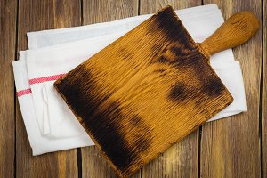 Linen kitchen towel and cutting board