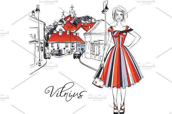 Fashionable Girl In Old Town Of Vilnius Lithuania