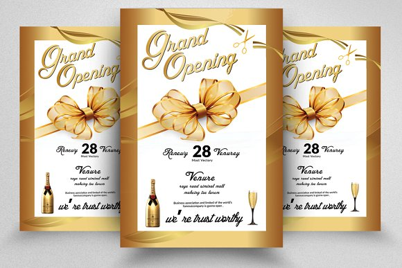 golden grand opening flyer template flyer templates creative market