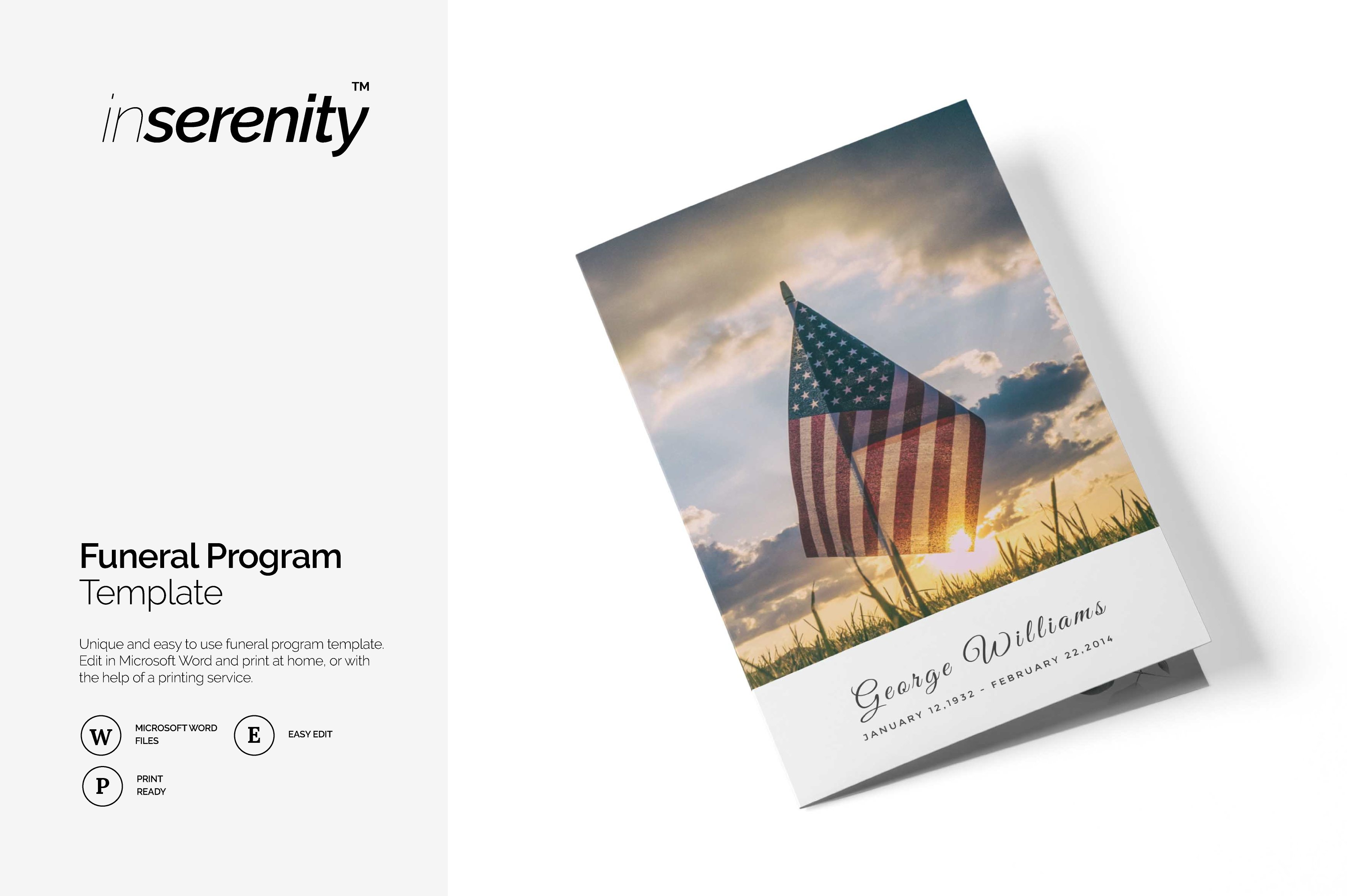 Military Funeral Program Template Flyer Templates Creative Market