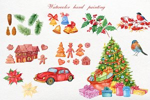 Christmas watercolor clipart