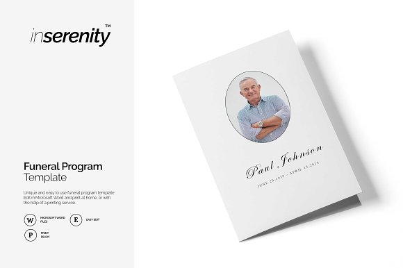 Funeral program template | BI-fold ~ Brochure Templates ~ Creative ...