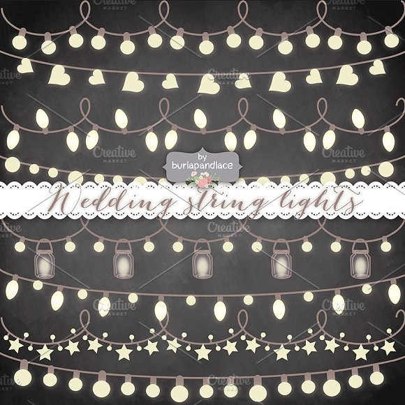 Outdoor Party Lights Clipart: Chalkboard Vector String Lights