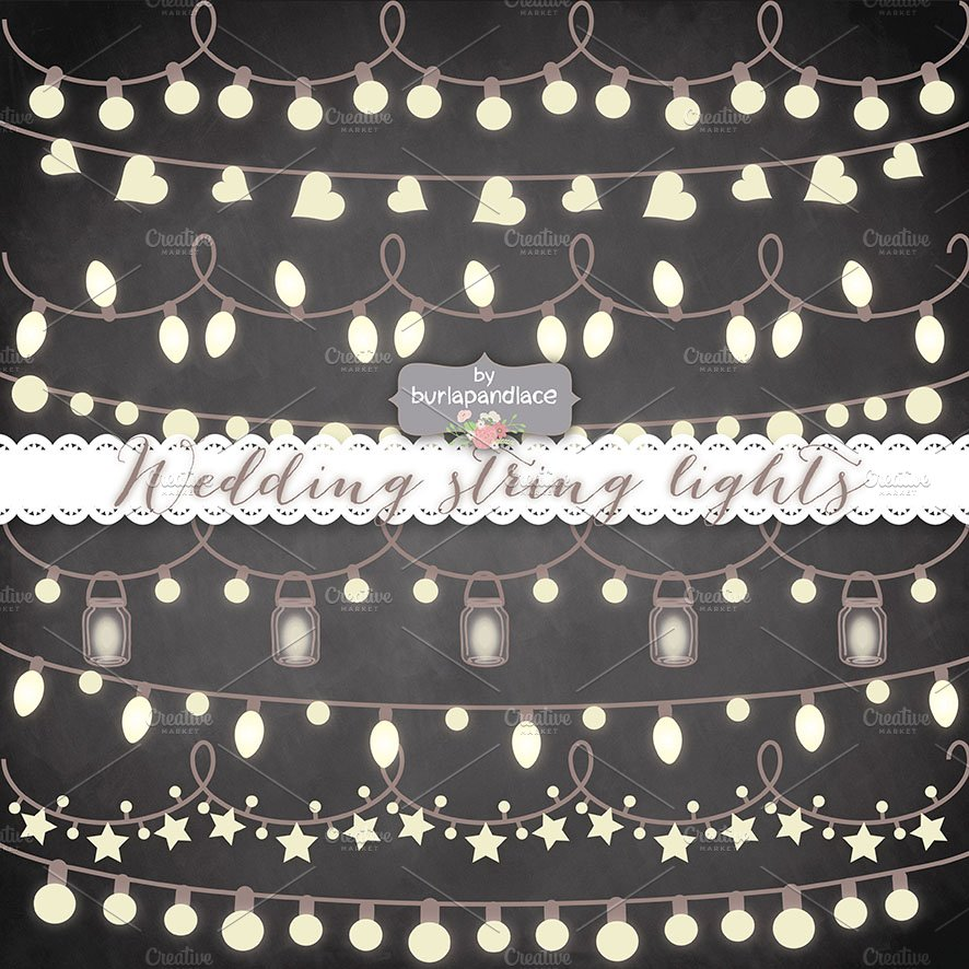 Chalkboard Vector String Lights Illustrations Creative Market
