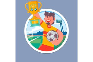 Happy Soccer champions with winners cup. Soccer cup, football championship Vector illustration.