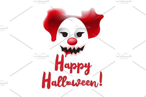 Scary Clown Mask Happy Halloween Poster Or Greating Card