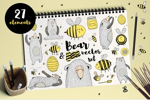 Bear and Bee VECTOR set