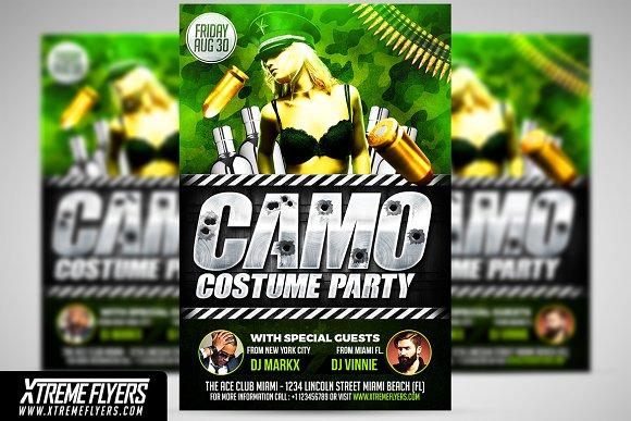 camo party flyer template flyer templates creative market