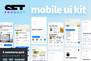Responsive mobile UI kit e-commerce