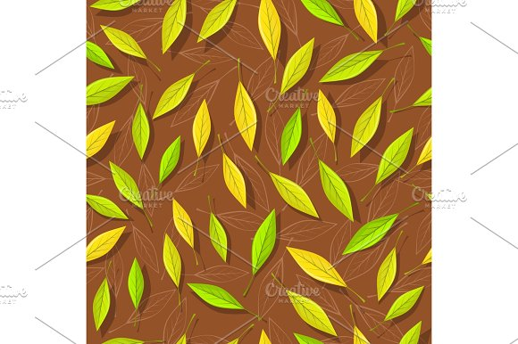 Seamless Pattern With Autumn Leaves On Brown