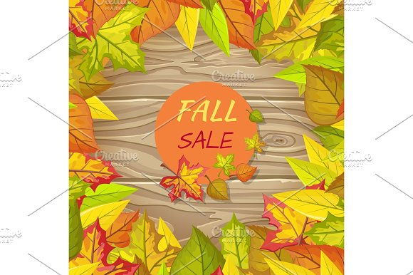 Fall Sale Banner Isolated On Wooden Background