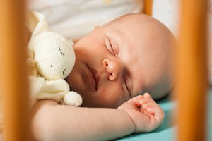 The baby sleeps