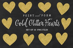 Hand Drawn Gold Glitter Hearts