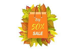 Big Sale 50 Percent. Autumn Paper Bag Label Vector