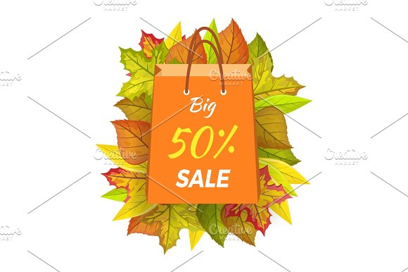 Big Sale 50 Percent Autumn Paper Bag Label Vector