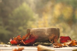 singing bowl and leaves