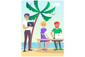 Business Travelling Poster with People on Beach