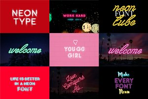 9 Neon Fonts - Mega Bundle