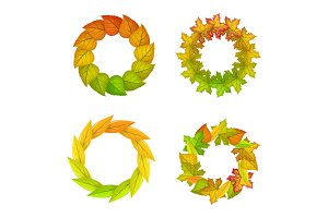 Set of Autumn Leaves Vector Frame in Flat Design