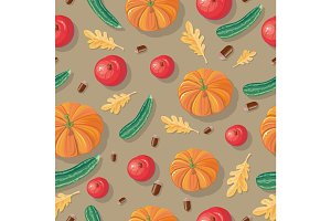 Autumn Harvest Seamless Pattern Illustration