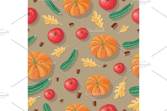 Autumn Harvest Seamless Pattern Illustration