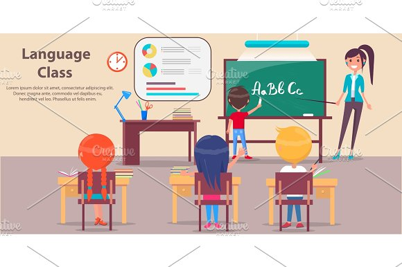 Language Class At Elementary School Vector Poster