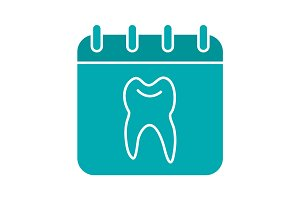 Dentist reception days glyph color icon