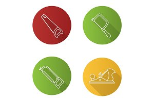 Construction tools flat linear long shadow icons set