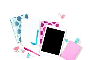 Flat lay photo of office white desk with tablet and stylish pink blue notebook copy space background