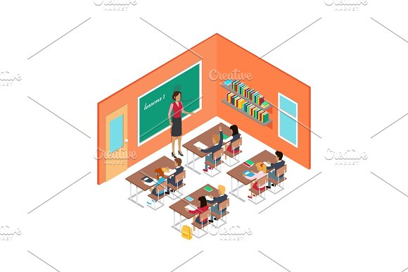 School Room With Teacher And Children At Desks