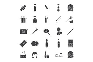 Cosmetics accessories glyph icons set