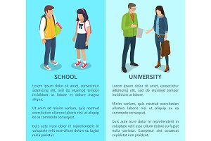 School and University Set of Posters with Text