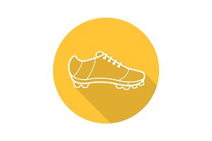 Cleat flat linear long shadow icon