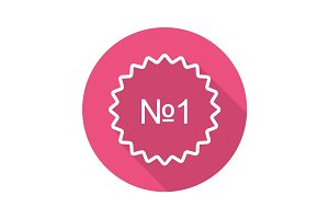 Number 1 sticker flat linear long shadow icon