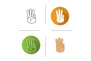 Three fingers up icon